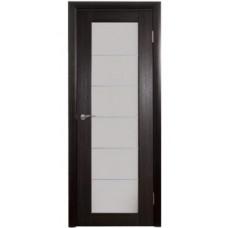Межкомнатная дверь Интери венге вертикальный белое стекло