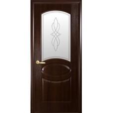 Межкомнатная дверь Фортис овал каштан стекло
