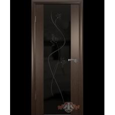 Межкомнатная дверь ВФД триплекс венге (8до4тр черное стекло)